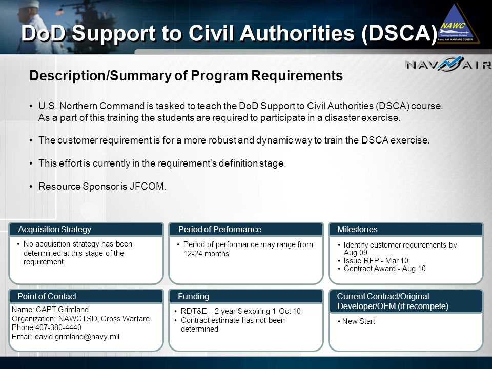 DoD Support to Civil Authorities (DSCA)