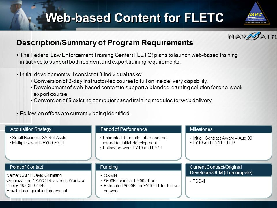 Web-based Content for FLETC