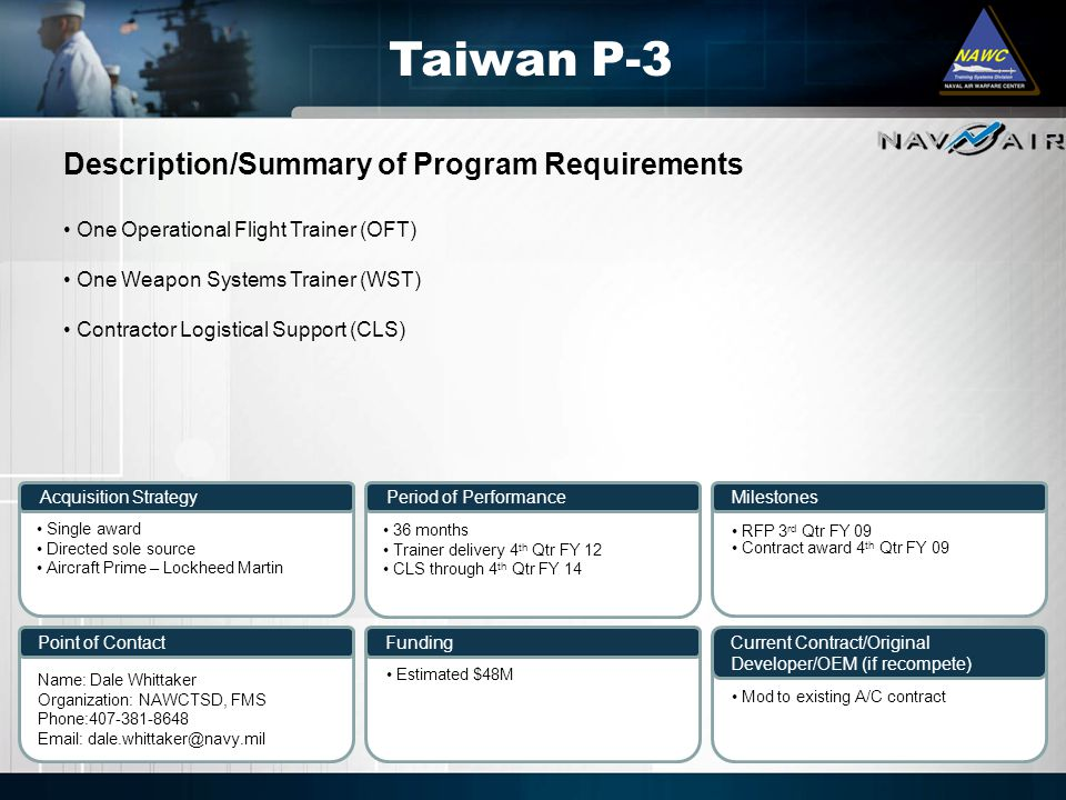 Taiwan P-3 Description/Summary of Program Requirements