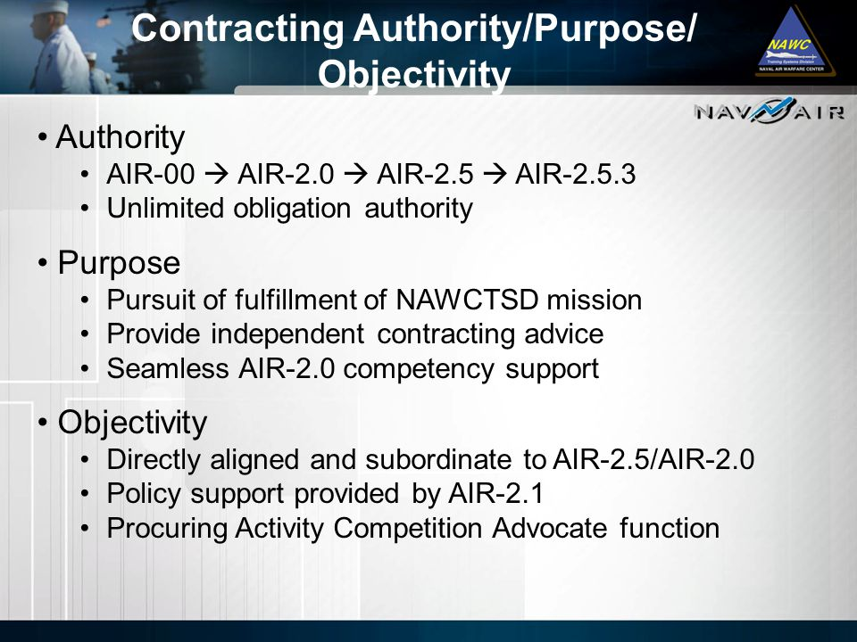 Contracting Authority/Purpose/ Objectivity