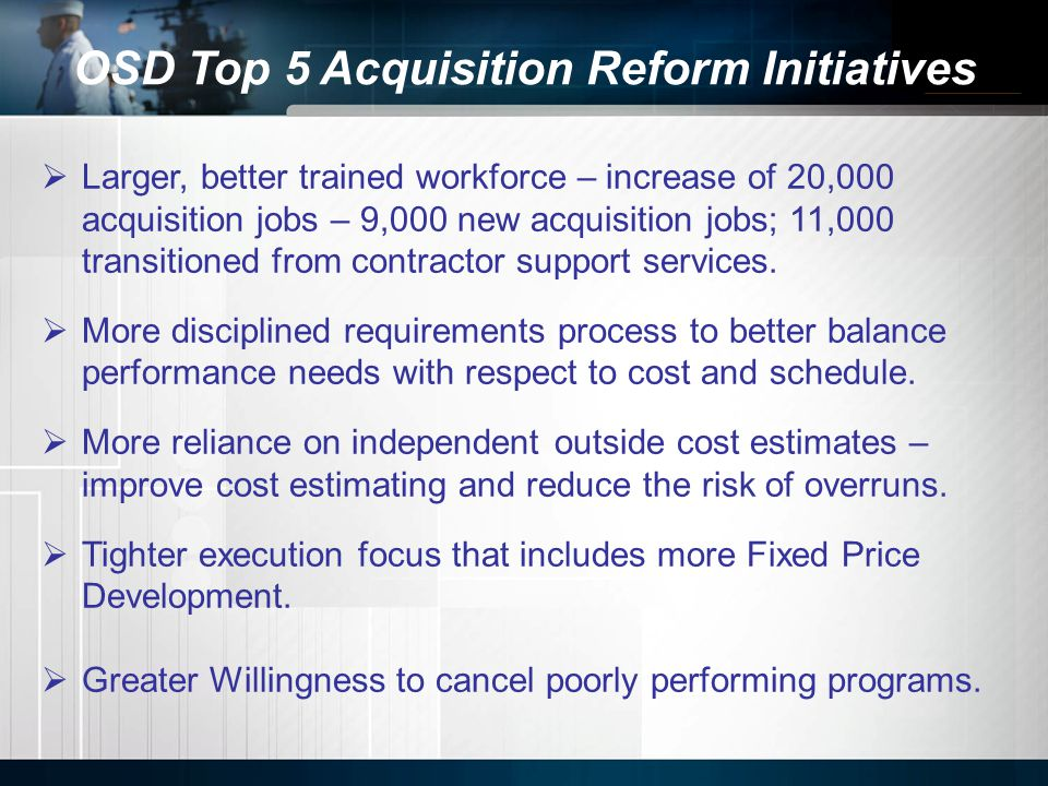 OSD Top 5 Acquisition Reform Initiatives