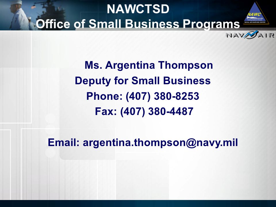 NAWCTSD Office of Small Business Programs