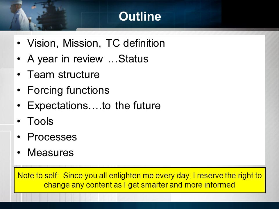 Outline Vision, Mission, TC definition A year in review …Status