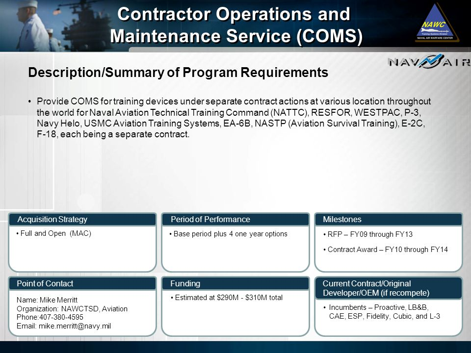 Contractor Operations and Maintenance Service (COMS)