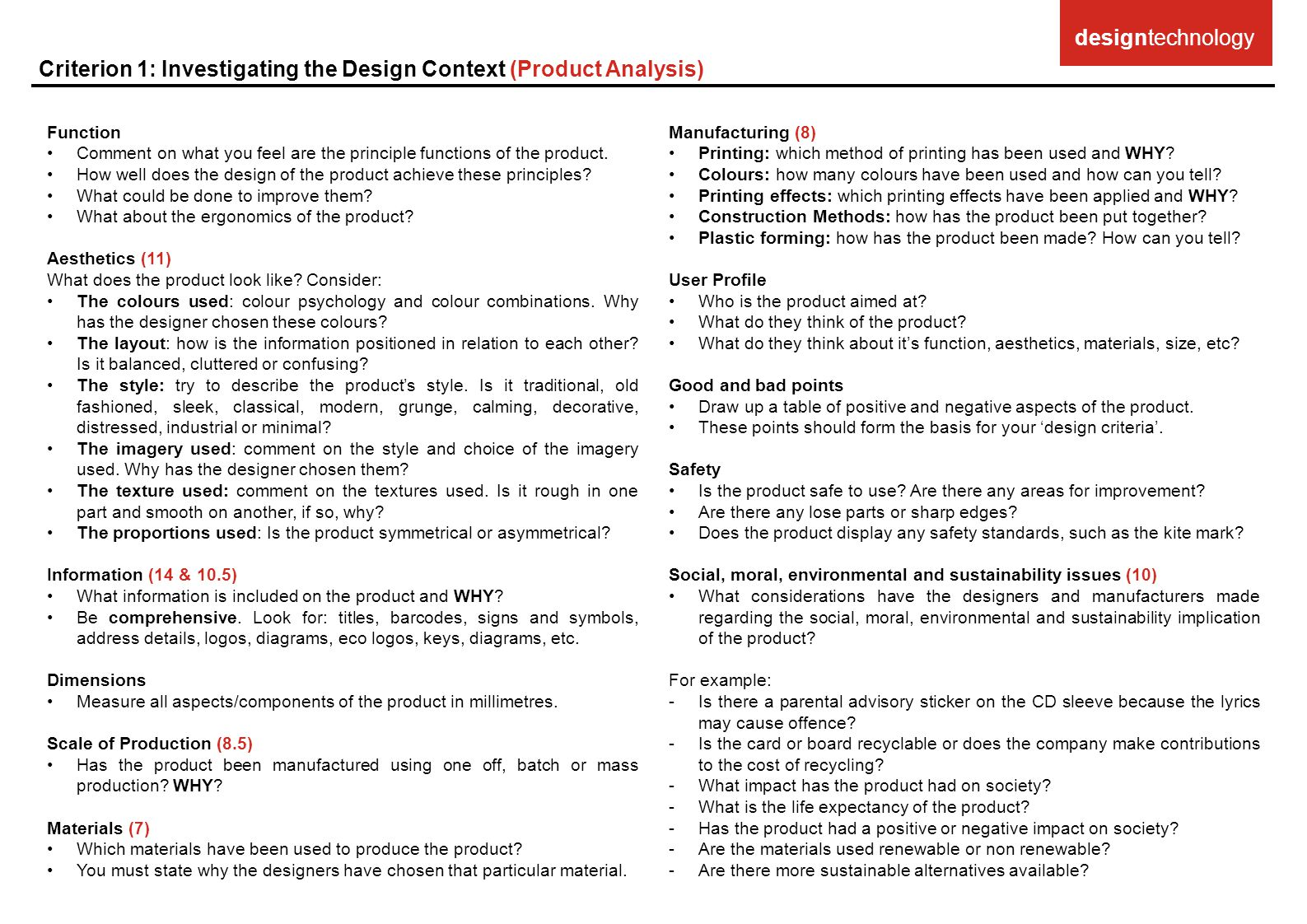 Criterion 1: Investigating the Design Context (Product Analysis)