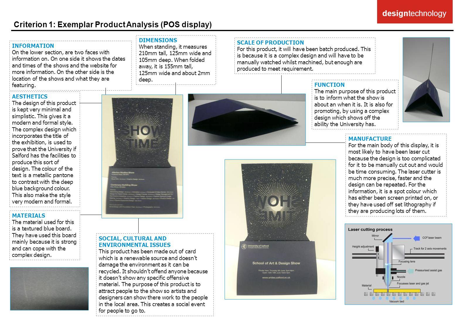 Criterion 1: Exemplar Product Analysis (POS display)