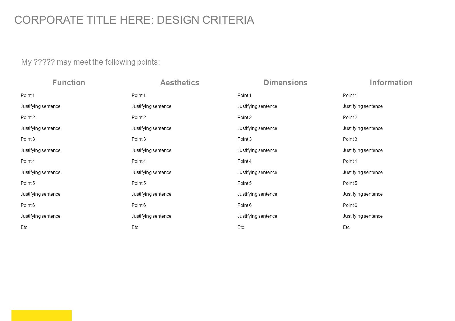CORPORATE TITLE HERE: DESIGN CRITERIA
