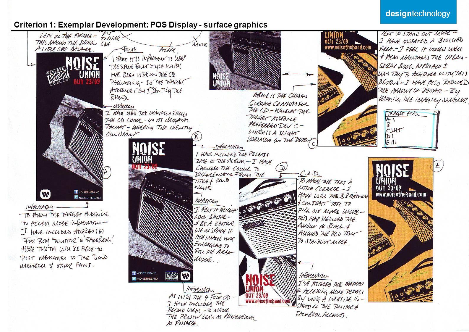 designtechnology designtechnology Criterion 1: Exemplar Development: POS Display - surface graphics