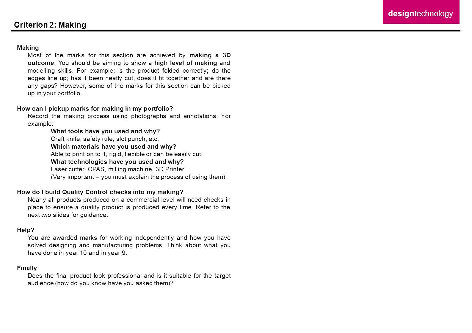 designtechnology Criterion 2: Making Making