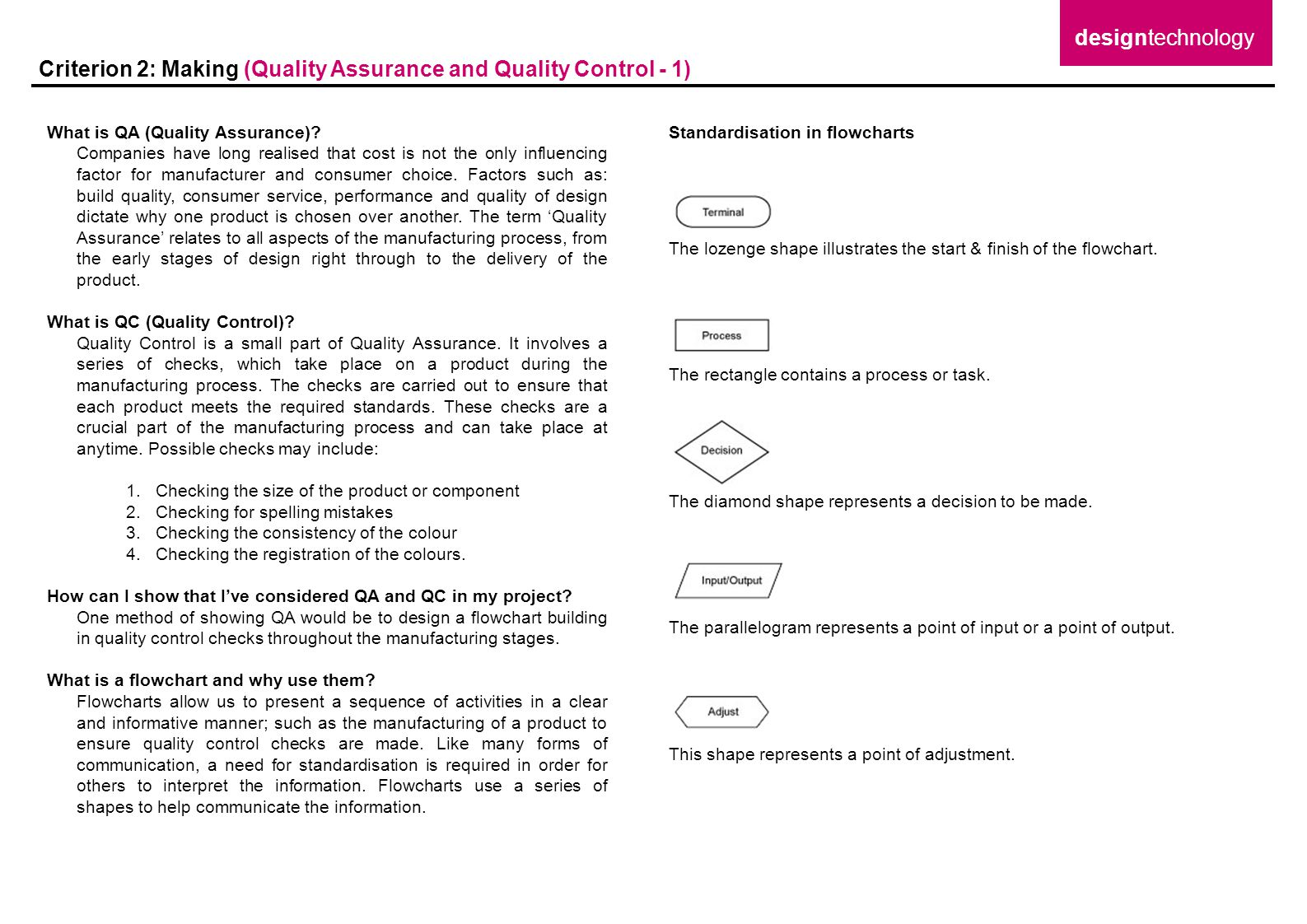 Criterion 2: Making (Quality Assurance and Quality Control - 1)