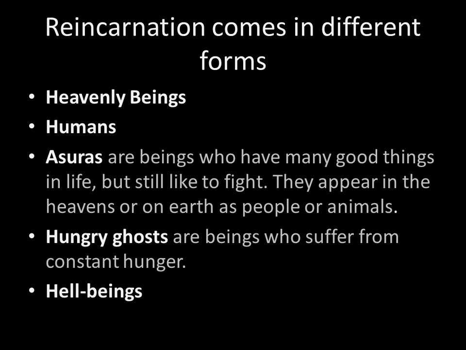 Reincarnation comes in different forms