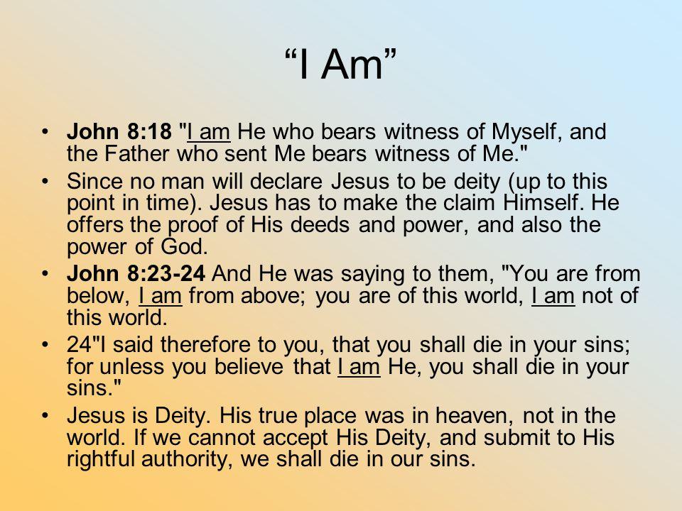 I Am John 8:18 I am He who bears witness of Myself, and the Father who sent Me bears witness of Me.