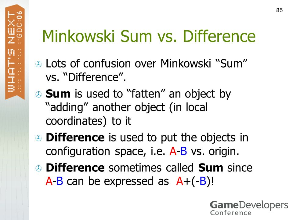 Minkowski Sum vs. Difference