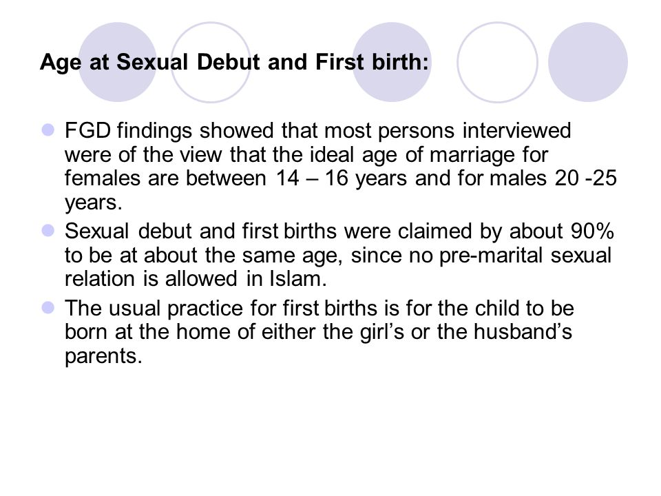 Age at Sexual Debut and First birth: