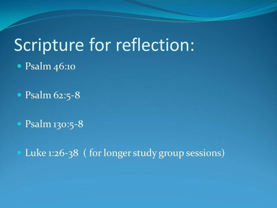 Scripture for reflection: