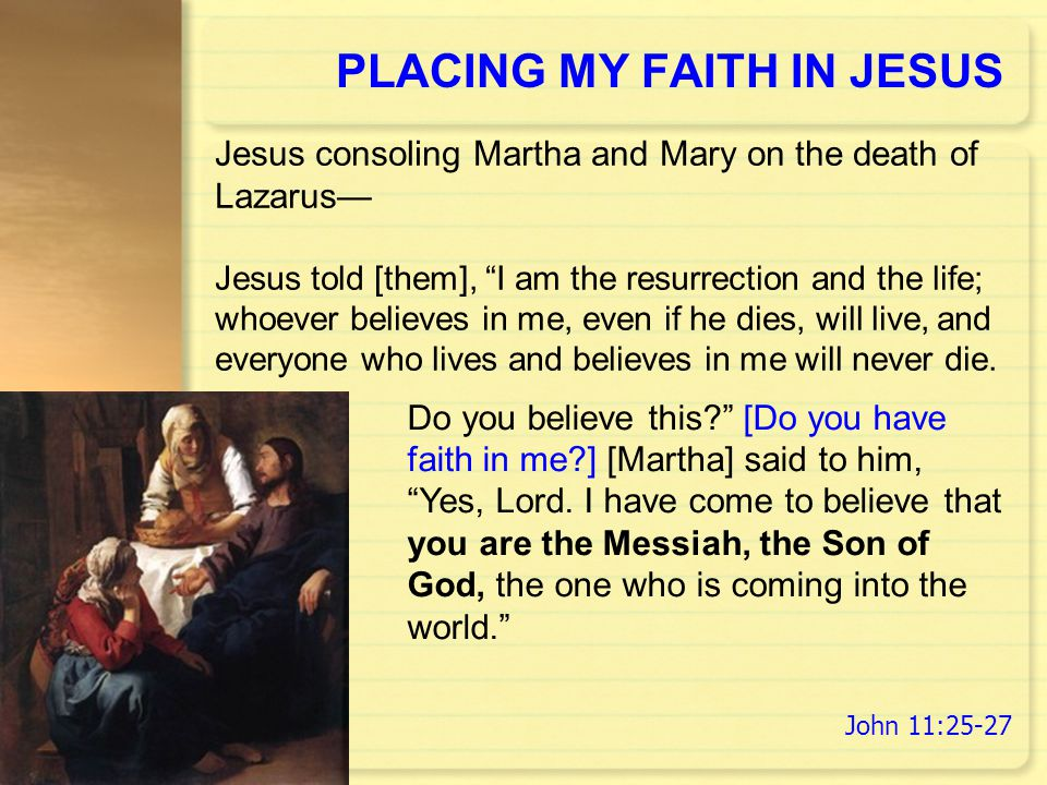 PLACING MY FAITH IN JESUS