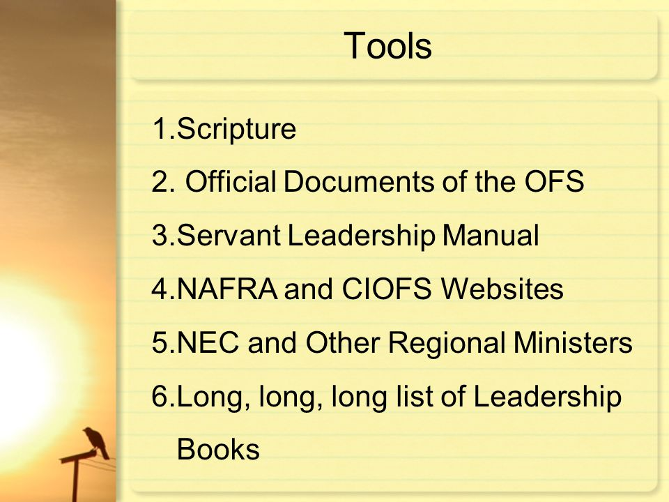 Tools Scripture Official Documents of the OFS