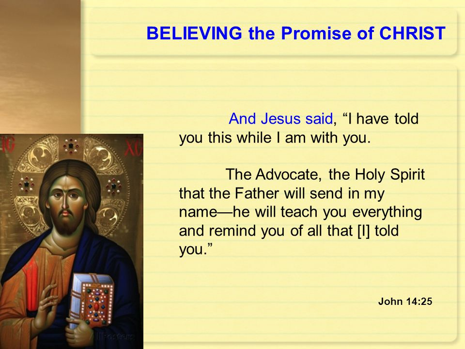 BELIEVING the Promise of CHRIST