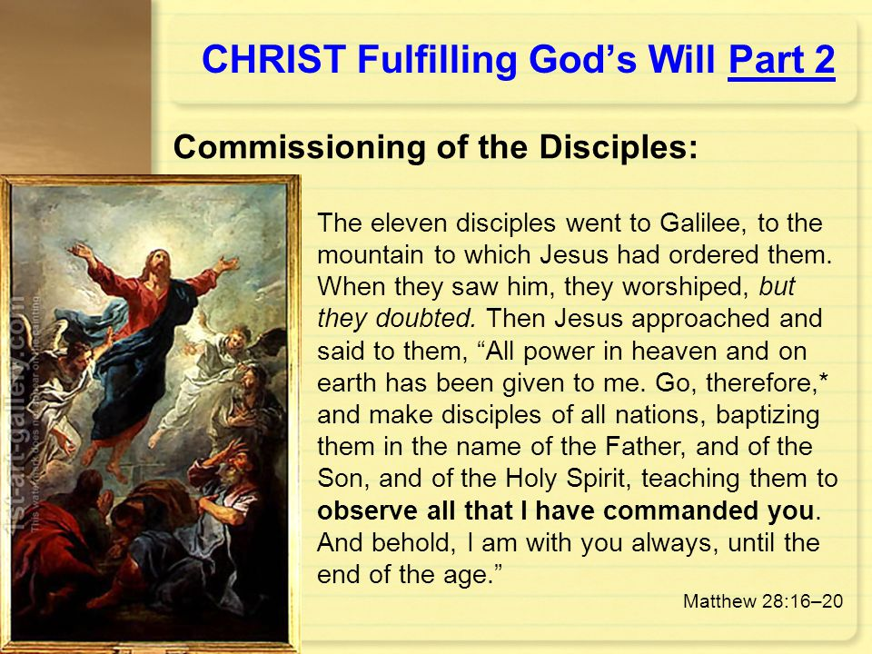 CHRIST Fulfilling God's Will Part 2