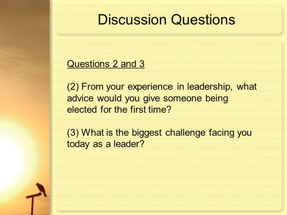 Discussion Questions Questions 2 and 3