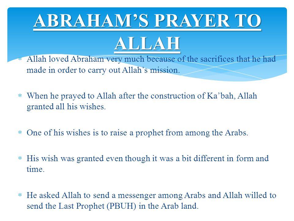 ABRAHAM'S PRAYER TO ALLAH