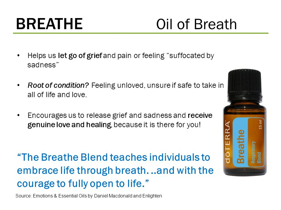 BREATHE Oil of Breath Helps us let go of grief and pain or feeling suffocated by sadness