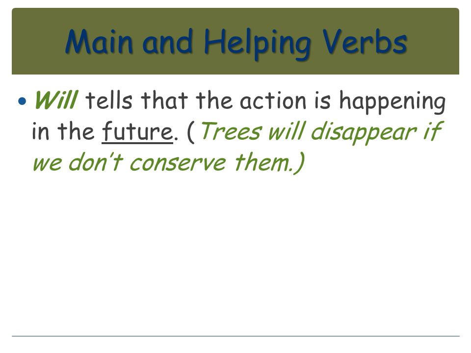 Main and Helping Verbs Will tells that the action is happening in the future.