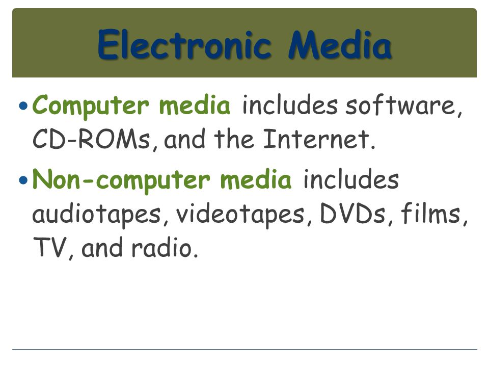 Electronic Media Computer media includes software, CD-ROMs, and the Internet.