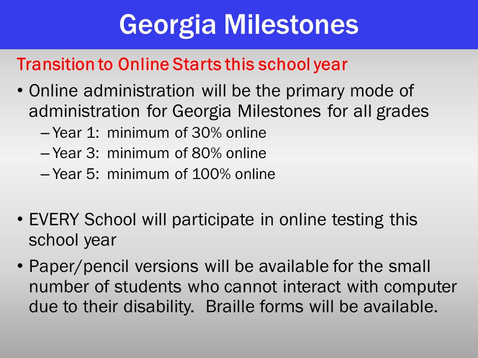 Georgia Milestones Transition to Online Starts this school year