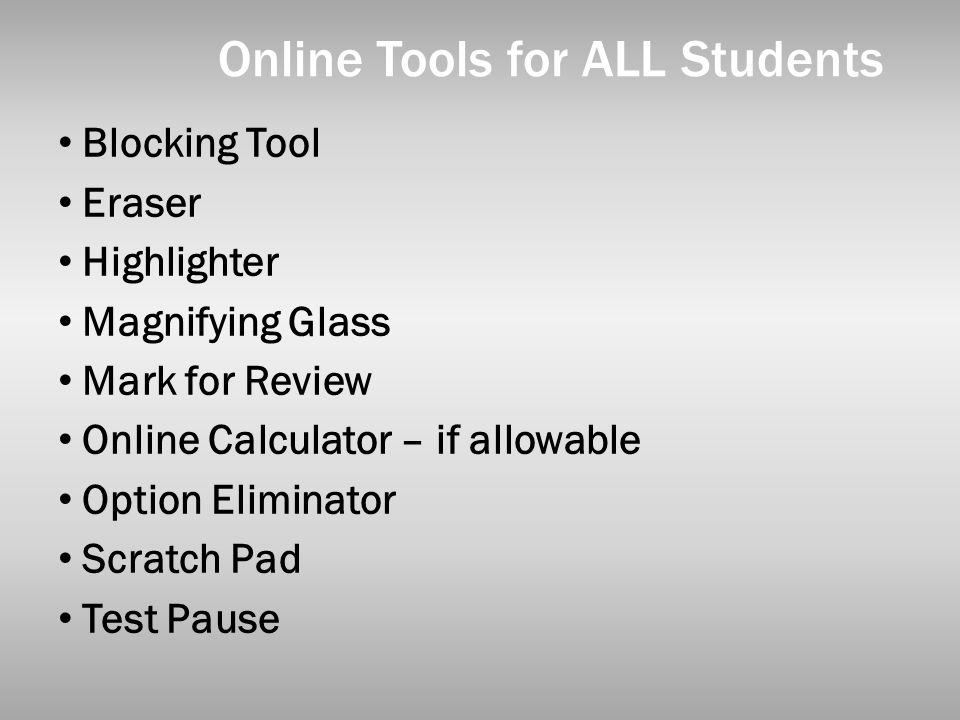Online Tools for ALL Students
