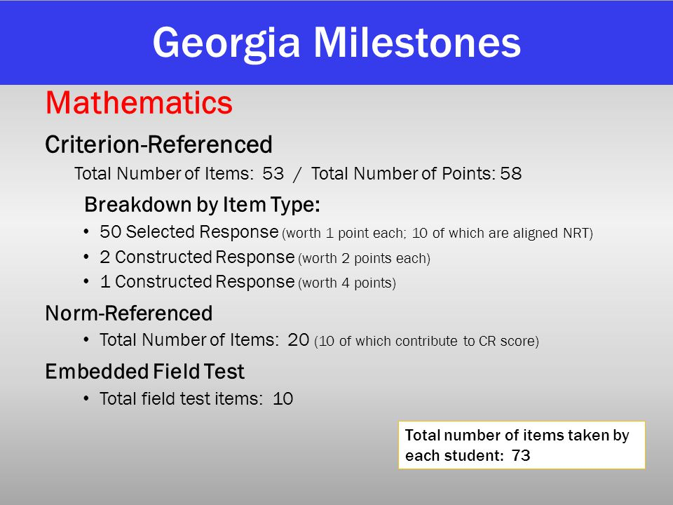 Georgia Milestones Mathematics Criterion-Referenced