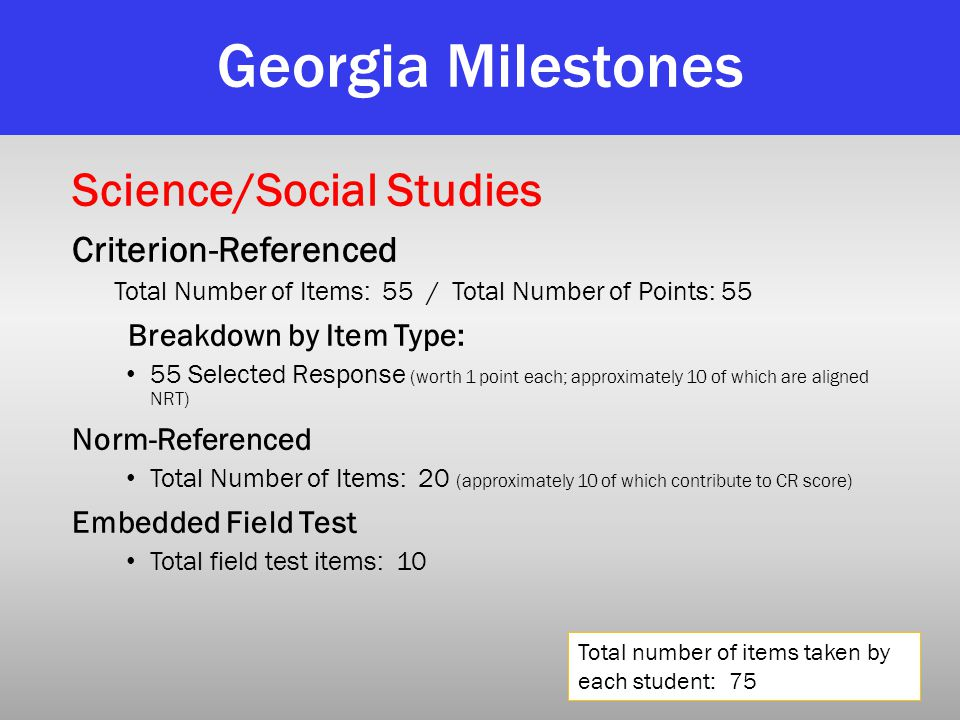 Georgia Milestones Science/Social Studies Criterion-Referenced