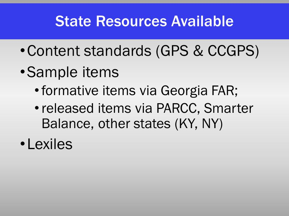 State Resources Available