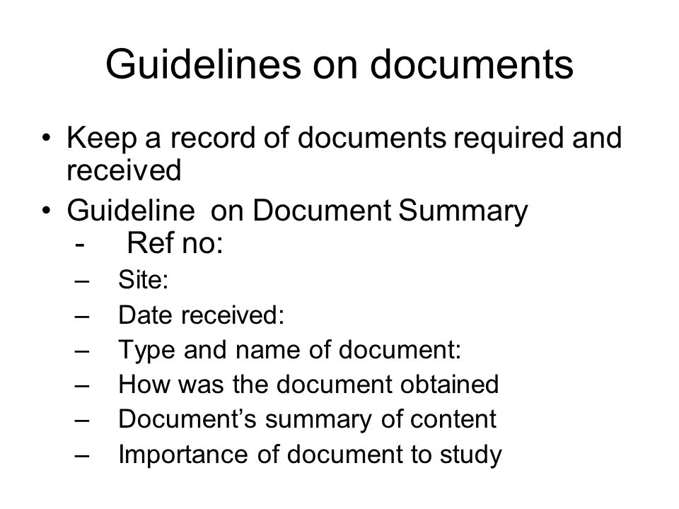 Guidelines on documents
