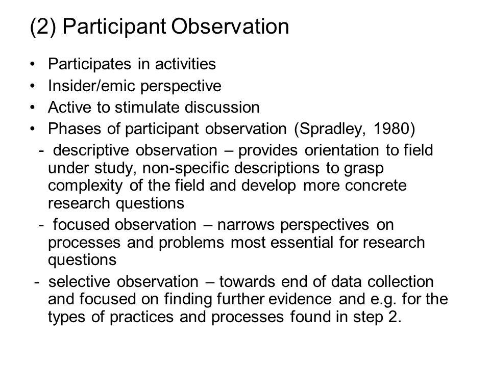 (2) Participant Observation