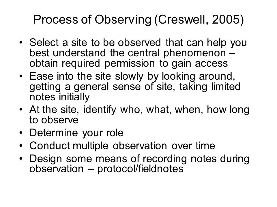 Process of Observing (Creswell, 2005)