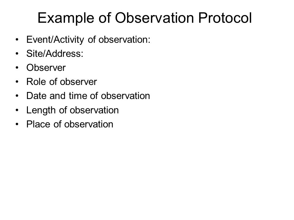 Example of Observation Protocol