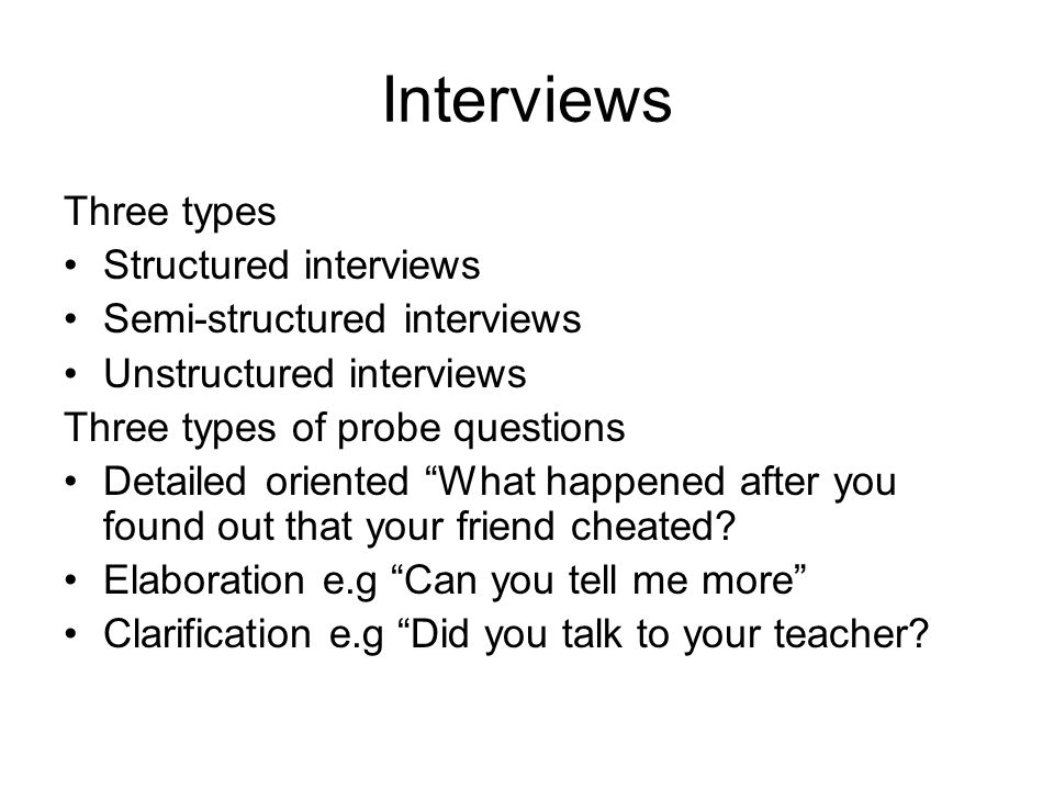 Interviews Three types Structured interviews