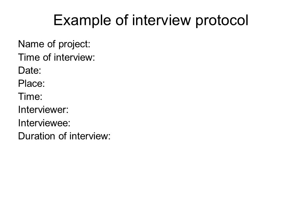 Example of interview protocol