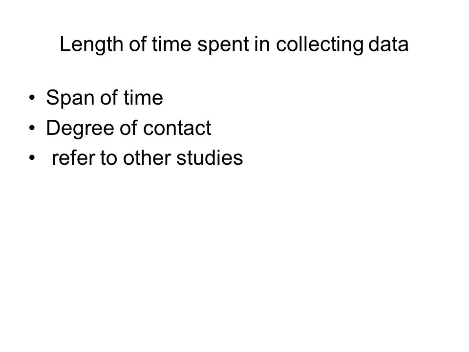 Length of time spent in collecting data