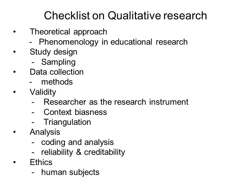Checklist on Qualitative research