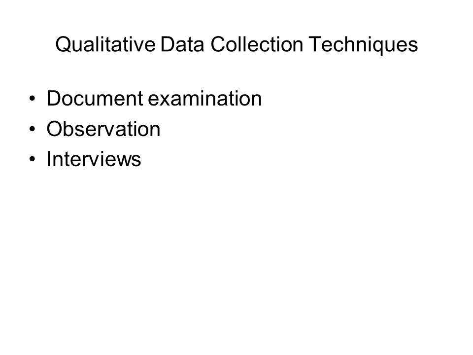 Qualitative Data Collection Techniques