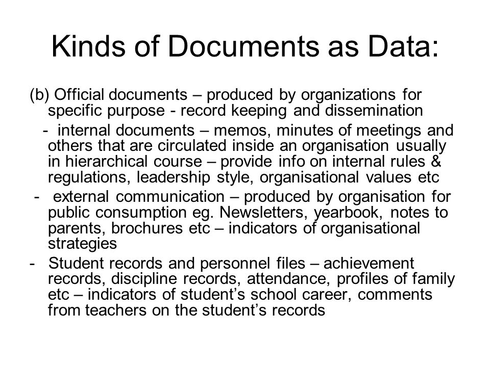 Kinds of Documents as Data: