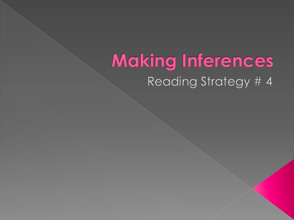 Making Inferences Reading Strategy # 4
