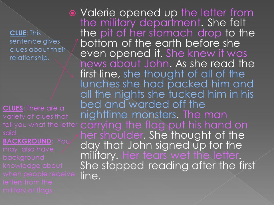 Valerie opened up the letter from the military department