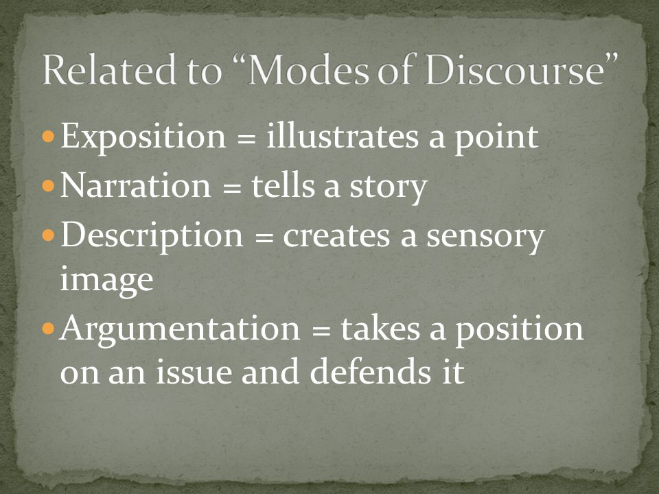Related to Modes of Discourse
