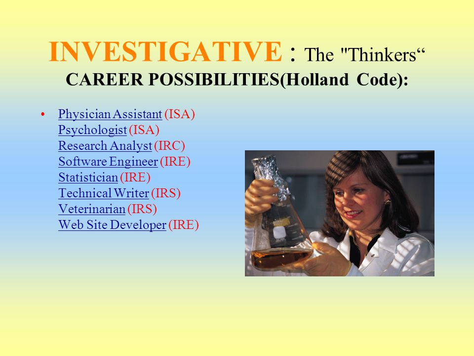 INVESTIGATIVE : The Thinkers CAREER POSSIBILITIES(Holland Code):