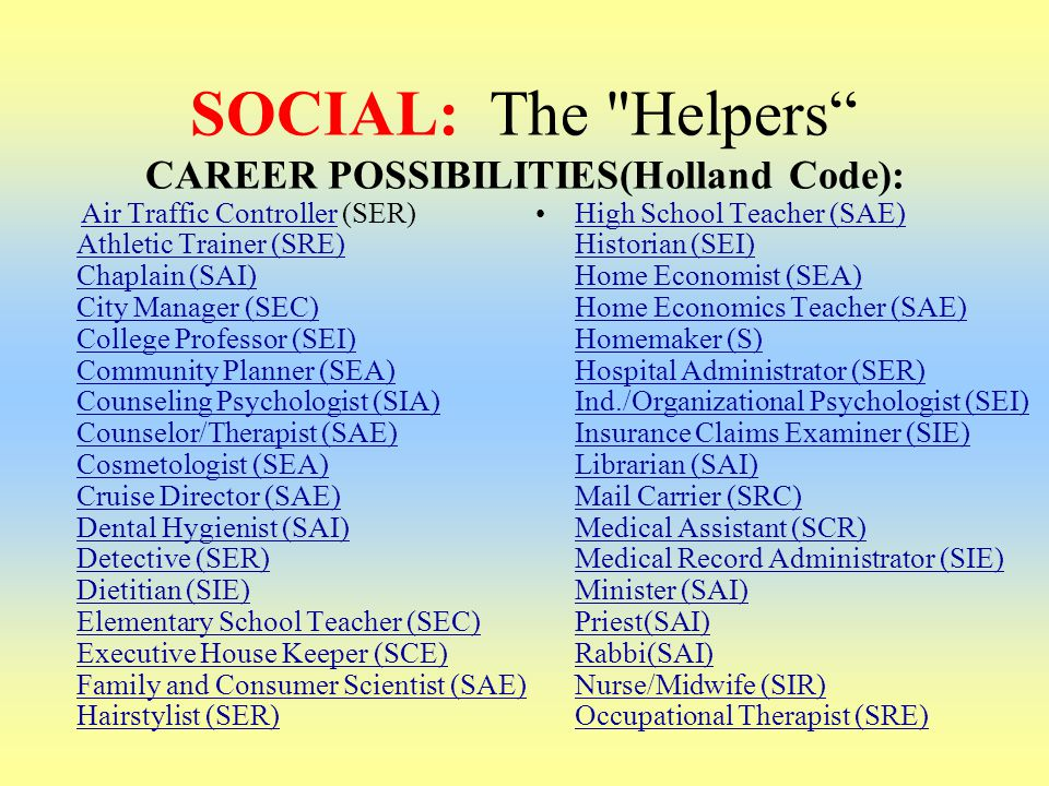 SOCIAL: The Helpers CAREER POSSIBILITIES(Holland Code):
