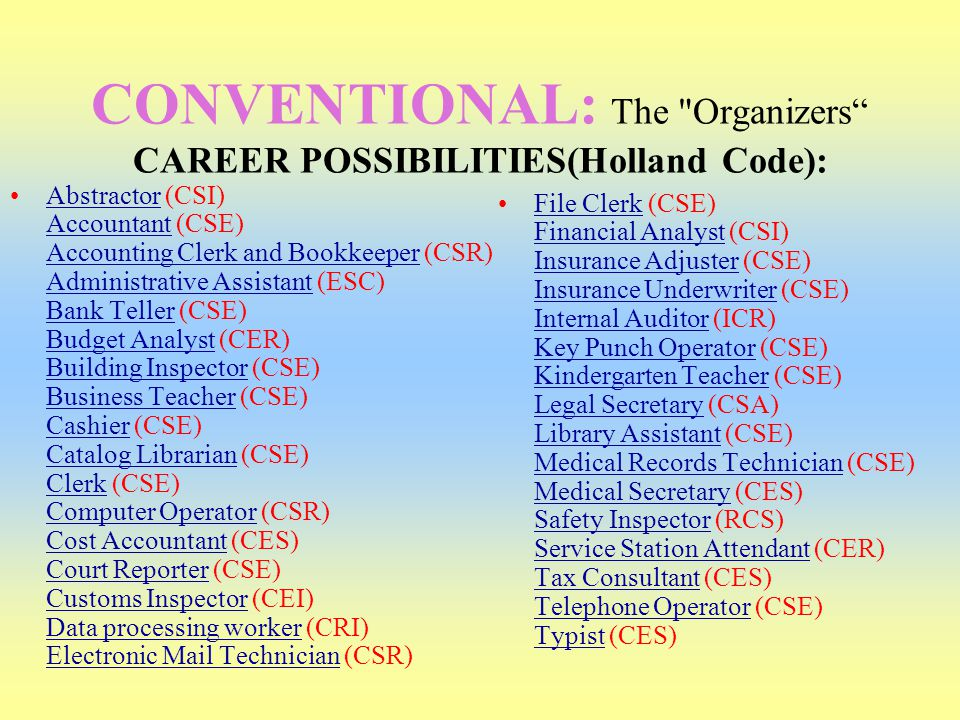 CONVENTIONAL: The Organizers CAREER POSSIBILITIES(Holland Code):