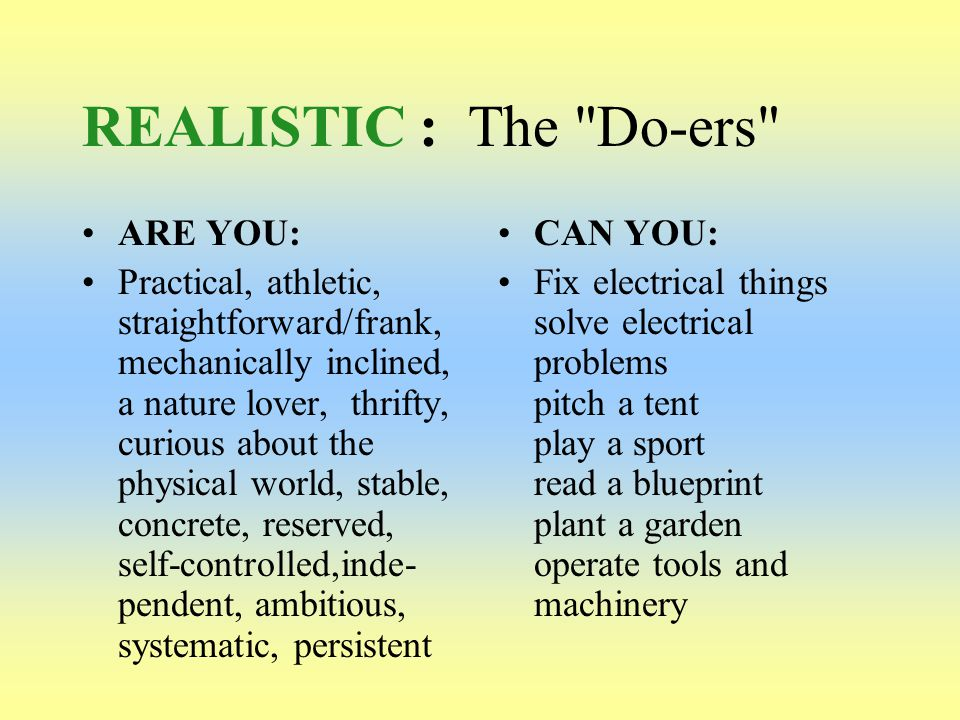 REALISTIC : The Do-ers ARE YOU: